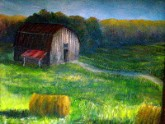 original oil painting of an East Texas barn and field with hay bales by Yeshuas Child Art