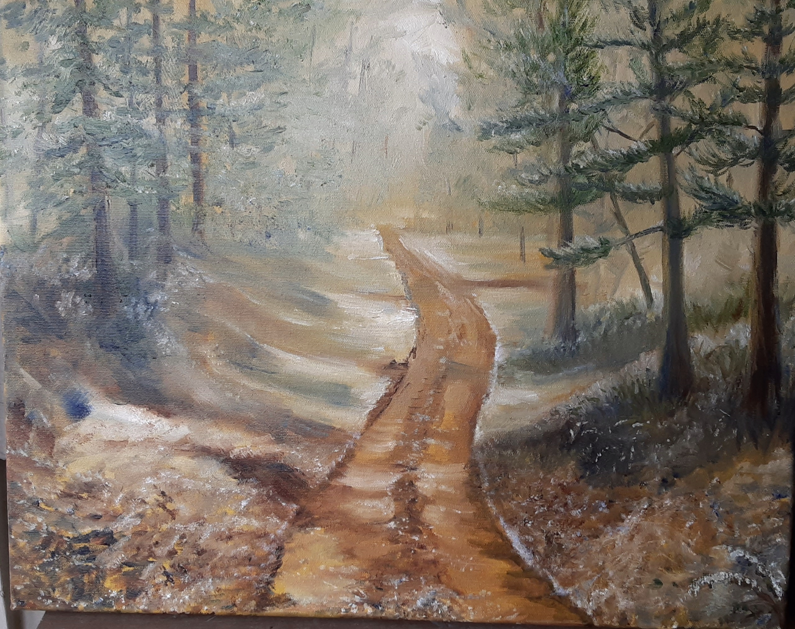 oil painting of baldwin forest