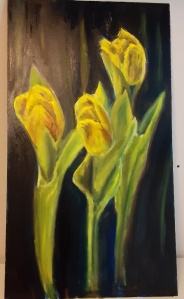 yellow tulips oil painting, flowers