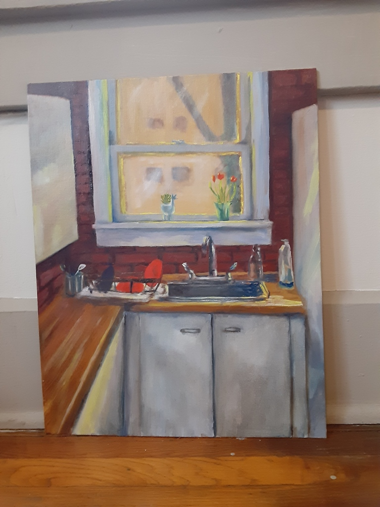 oil painting of a sunny kitchen by Yeshuas Child Art